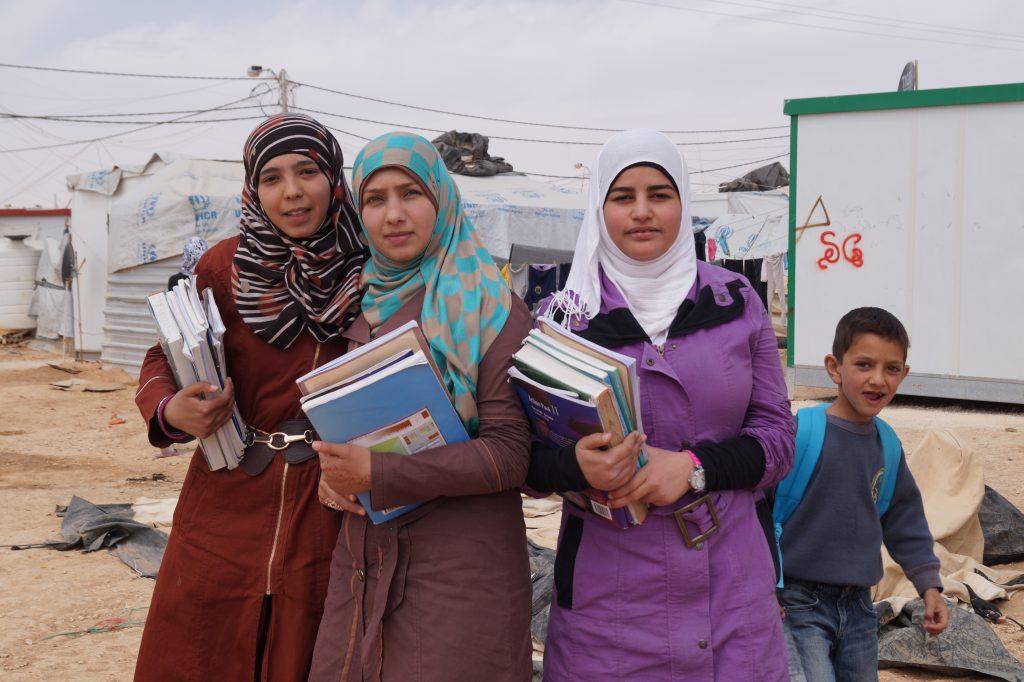Syrian students at Za'atari refugee camp. (Photo by Kirsten Koza)