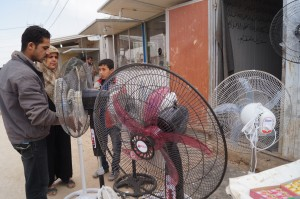 The newest mega camp doesn't have electricity. At least at Za'atari refugees can sell their donation food packets to buy a fan. (photo by Kirsten Koza)