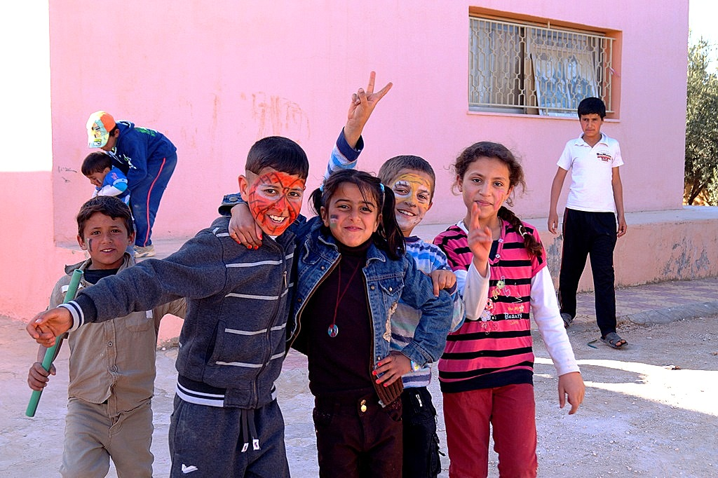 Dar al Yasmin fun day for Syrian refugee children at Za'atari village