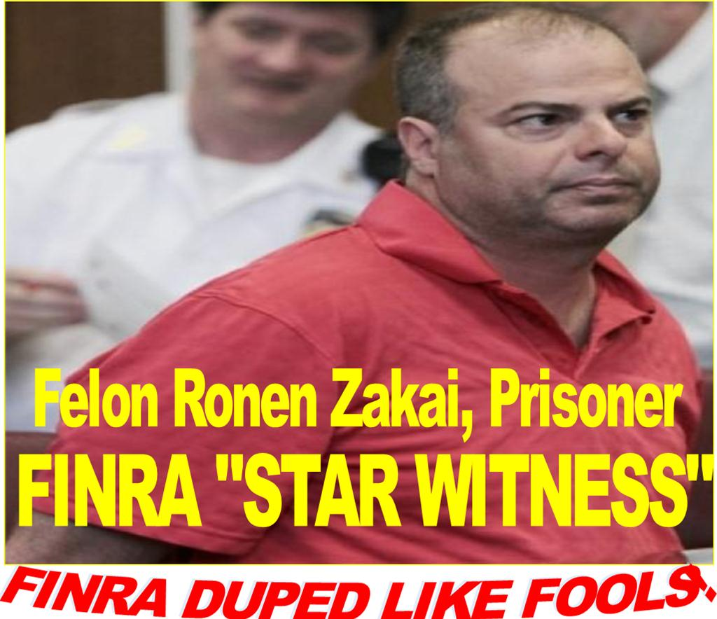 FINRA WITNESS, FELON RONEN ZAKAI, MAUREEN GEARTY, JEFFREY BLOOM, ROBERT MORRIS, RICK KETCHUM, FRAUD CAUGHT