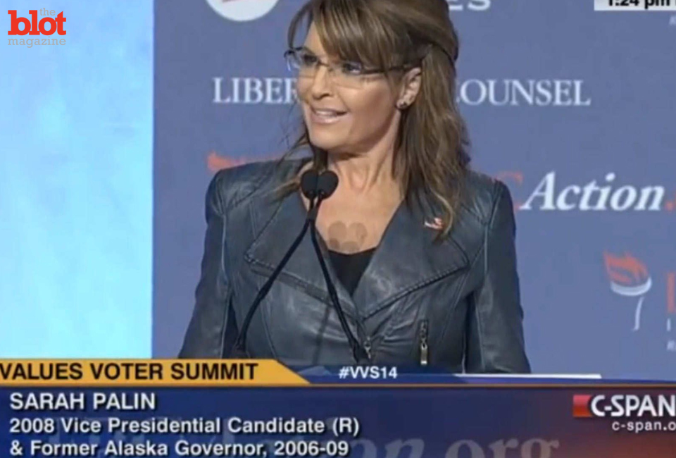 Of course Sarah Palin's speech was among our 'favorite' moments from the 2014 Values Voter Summit. (C-SPAN screen capture from nymag.com)