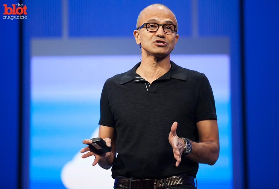 Microsoft CEO Satya Nadella speaking at a conference last year. (© Kim Kulish/Kim Kulish/Corbis)