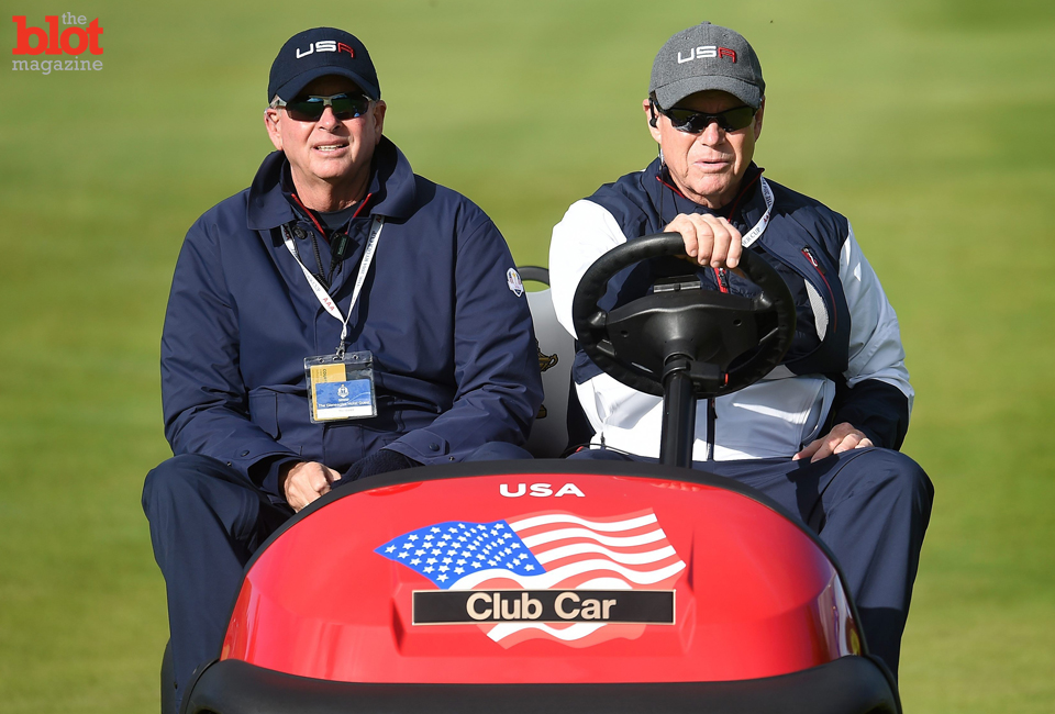 PGA President Ted Bishop, left, first messed up by having Tom Watson, right, lead the (losing) U.S. Ryder Cup team, but now he's really irked us. (© ANDY RAIN/epa/Corbis)