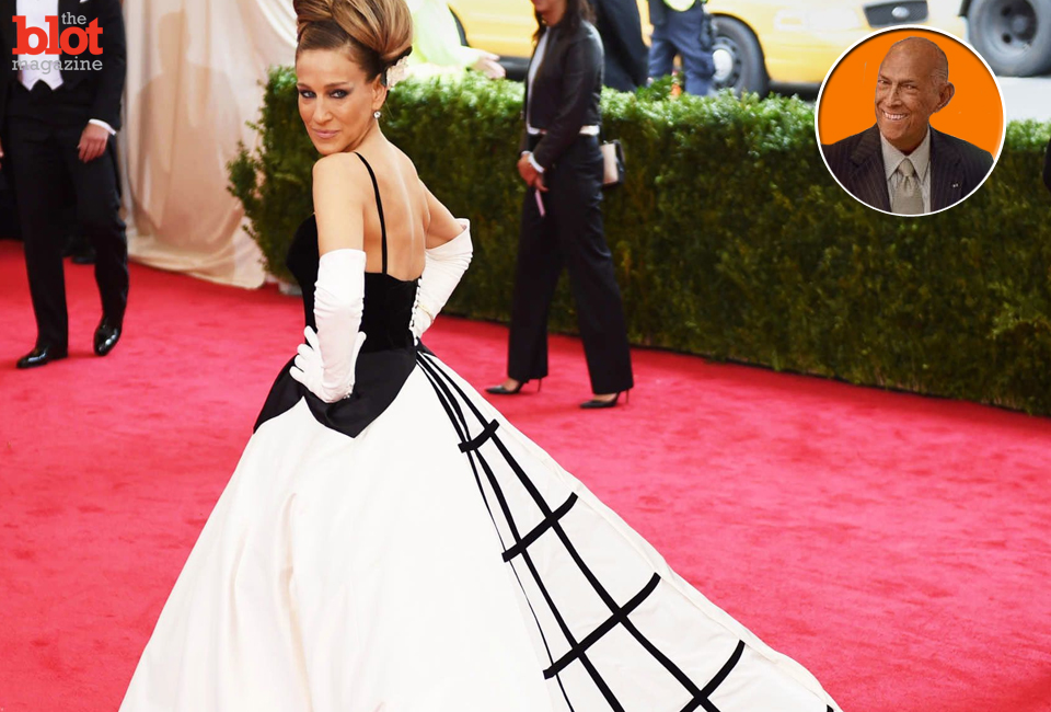Sarah Jessica Parker in a 'signature' Oscar de la Renta gown at the Met Gala in May. The designer, inset, died Monday at 82. (nymag.com photo)