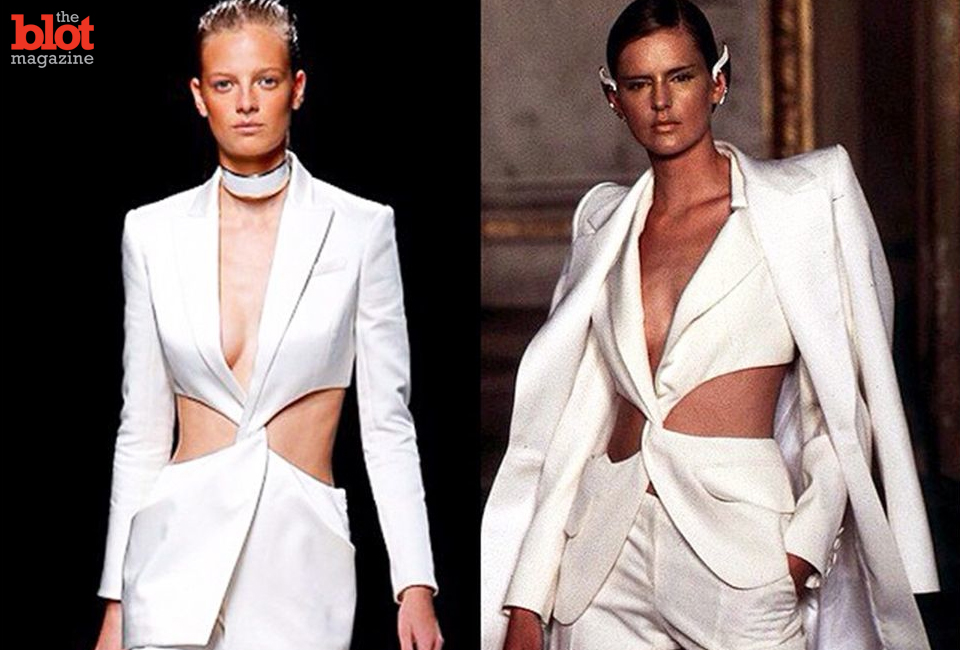 Copycat couture: Oliver Rousteing for Balmain 2015 vs. Alexander McQueen for Givenchy 1997. (Image from VFILES Instagram)