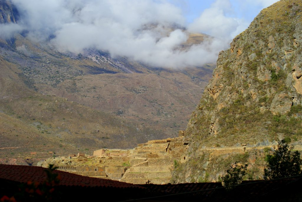 The morning view from Apu Lodge over Ollantaytambo rooftops to the Inca ceremonial center. (photo by Kirsten Koza)