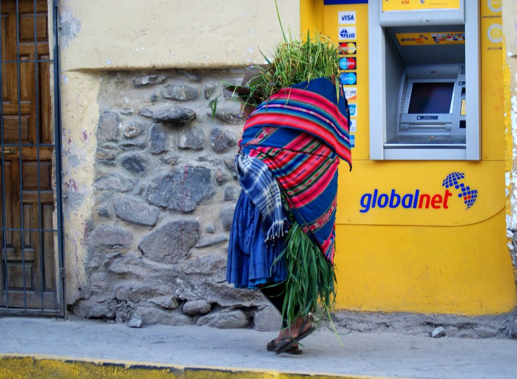 A local woman from Ollantaytambo carries grass to feed her guinea pigs. The guinea pigs will feed her family. (photo by Kirsten Koza)