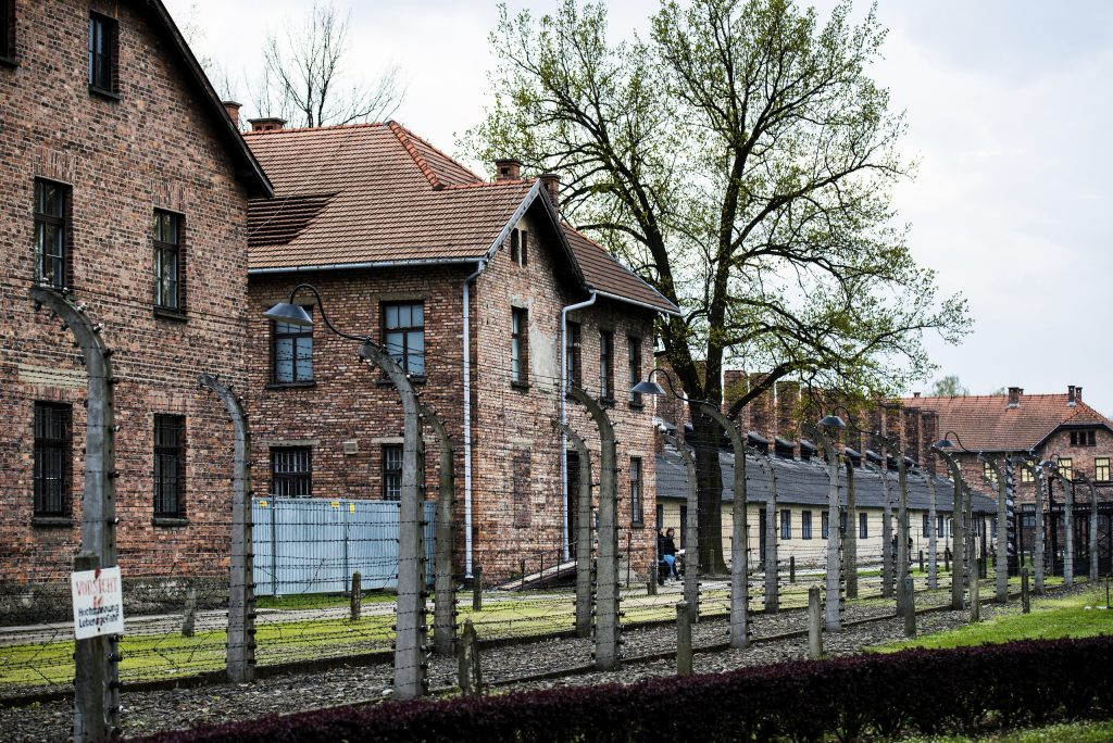 The brick barracks inside Auschwitz concentration camp. (Skrypko Ievgen/Veer photo)