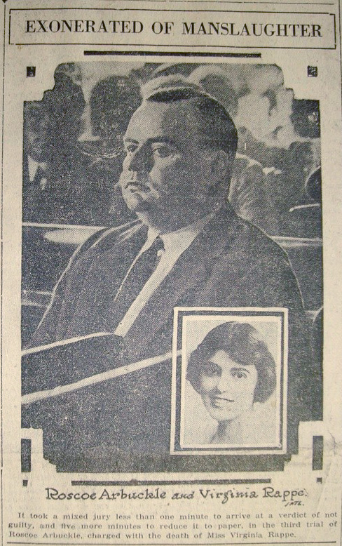 A newspaper scan of outcome of Fatty Arbuckle's infamous third trial. (Wikipedia photo)