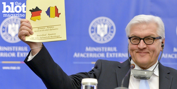 A spokesperson for Romania's foreign ministry was fired after German Foreign Minister Frank-Walter Steinmeier was gifted a map of France featuring the German flag inside it Monday. Whoopsie. (washingtonpost.com photo)