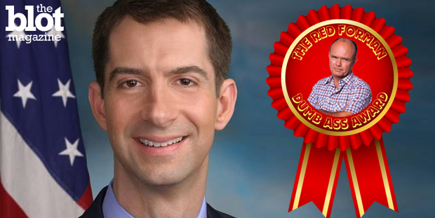Sen. Tom Cotton (R-Ark.) is our latest Red Forman Dumbass Award winner for the snafu over the nuke letter he and 46 other senators sent to Iran's leaders. (Photo from Sen. Tom Cotton Facebook page)