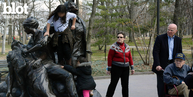 Yes, it was disrespectful, but here's why we should calm down about the viral photo of the kids playing on the Vietnam Women's Memorial in Washington, D.C. (MatthewM.Art photo)
