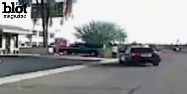 Dashcam video released on Tuesday shows Tucson-area cop Michael Rapiejko driving into rifle-wielding crime spree suspect Mario Valencia in February. (fox6now.com photo)