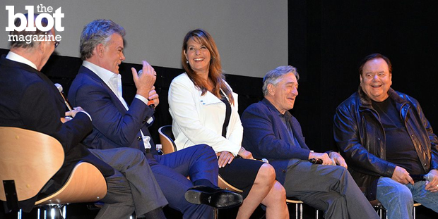 Dorri Olds was on hand for the sold-out 25th anniversary screening of Martin Scorsese's 'Goodfellas,' which closed out this year's Tribeca Film Festival. From left: Screenwriter Nicholas Pileggi and actors Ray Liotta, Lorraine Bracco, Robert De Niro and Paul Sorvino. (Photo by Dorri Olds)