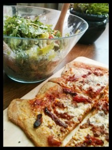 Sundried Tomato Pizza and Side Salad.