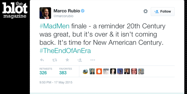 "Marco Rubio tweeted a ""Mad Men"" non-sequitur Sunday, but we couldn't help but wonder how he'd respond to the finales of other hit television shows. (Twitter photo)"