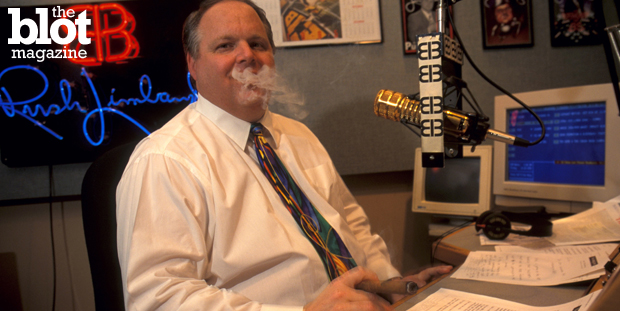 With two major markets recently dropping 'The Rush Limbaugh Show,' is the conservative talk radio host's broadcasting reign of terror nearing its end? In above photo, 'El Rushbo' enjoys a cigar during a show break in 1995. (© Mark Peterson/Corbis photo)