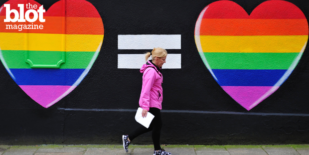 While the land of the free and home of the brave still dithers on marriage equality, Ireland, via a popular referendum, approved a gay marriage amendment. Above, a woman walks past a pro-gay marriage mural in Dublin last week. (© AIDAN CRAWLEY/epa/Corbis photo)