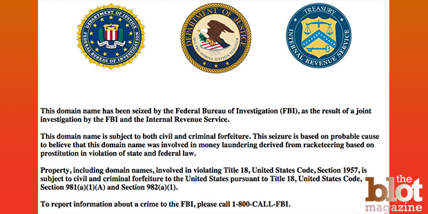 Eric Omuro, owner of California-based prostitution directory sites SFRedbook.com and MyRedBook.com, has been sentenced to 13 months in federal prison. A law enforcement warning appears on the seized website of MyRedbook.com.