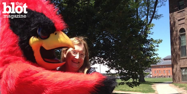 Transgender author and activist Jennifer Finney Boylan received the Wesleyan University Distinguished Alumna award, 35 years after she graduated as a man. Here she is with the school's Cardinal mascot. (Photo courtesy Jennifer Finney Boylan)