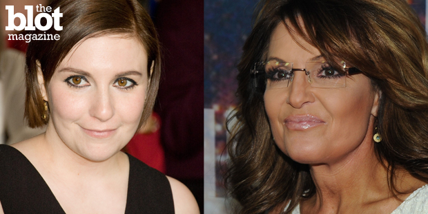 While glossing over Josh Duggar's molestation scandal, Sarah Palin called Lena Dunham a pedophile for touching her sister's genitals as a child.  (Dunham: © Efren S. Landaos/Press Line Photos/Corbis photo; Palin: © Joe Stevens/Retna Ltd./Corbis photo)