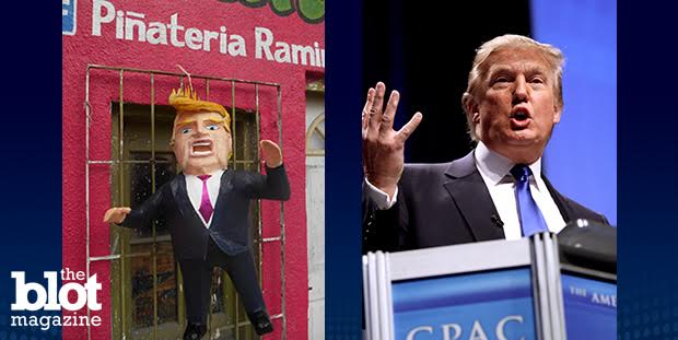 Batter up! After Donald Trump accused Mexicans of being criminals and racists, Mexican artist Dalton Avalos-Ramirez created a piñata in his likeness. (From left: Dalton Avalos-Ramirez/Twitter photo; Gage Skidmore/Flickr Creative Commons photo)