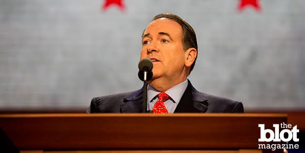 With the Supreme Court's ruling Friday, same-sex marriage is the law of the land — and it's a law that some Republicans like Mike Huckabee, above, are hoping citizens will ignore. (Mallory Benedict / PBS NewsHour / Flickr Creative Commons photo)