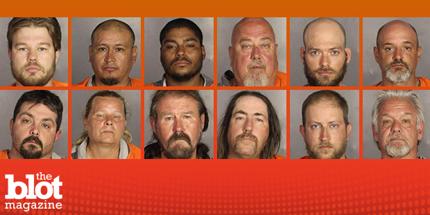 Some 500 bikers rallied in front of a Waco courthouse on Sunday to protest the detention of 170 fellow bikers following a gang-related shootout in May. Above, a composite of mugshots of individuals arrested as part of a crackdown on biker gangs in Waco. (Photos courtesy McLennan Sheriff's Department)