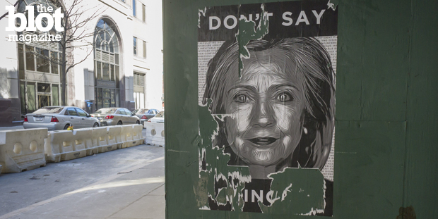 Like many who come to Brooklyn, Hillary Clinton wanted to cash in on its image when she made it her campaign HQ, yet she's only been there a few times. Seen above is an anti-Hillary poster near her Brooklyn Heights office. (© Richard Levine/Demotix/Corbis photo)