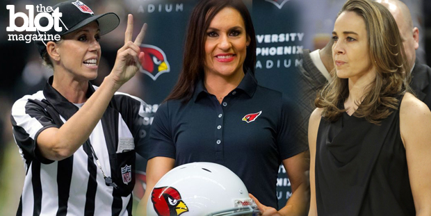 Three women — Sarah Thomas, Jen Welter and Becky Hammon — are busting through the glass ceilings of the NFL and NBA. All we can say is, 'It's about time.' (From left, Thomas: YouTube photo; Welter: FoxSports.com photo; Hammon: nypost.com photo)