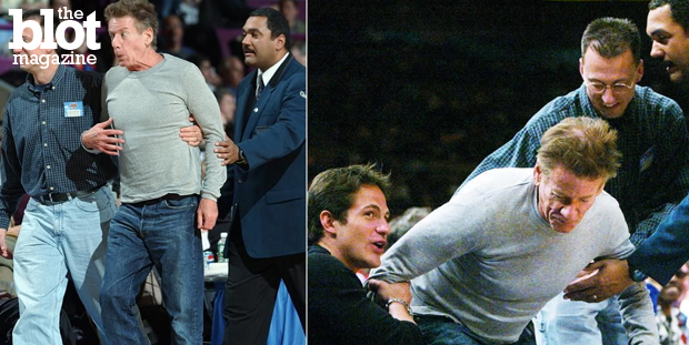 From anti-Semitic rants and court-side drama to drugs and cellphone abuse, Michael Musto names the eight biggest breakdowns in the world of fashion. Above, Calvin Klein being led back to his seat after approaching New York Nicks player Latrell Sprewell — during a 2003 game. (nydailynews.com photo)