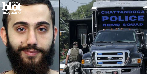 The family of Muhammad Abdulazeez, accused of gunning down five people in Chattanooga, Tenn., last week, said their relative suffered from depression. Above left, Abdulazeez; right, Chattanooga Police's bomb squad was among the law enforcement investigating Abdulazeez's home. (jacksonville.com photo)