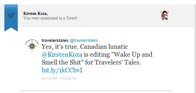 Travelers' Tales tweets about the Canadian lunatic, Kirsten Koza (screen capture).