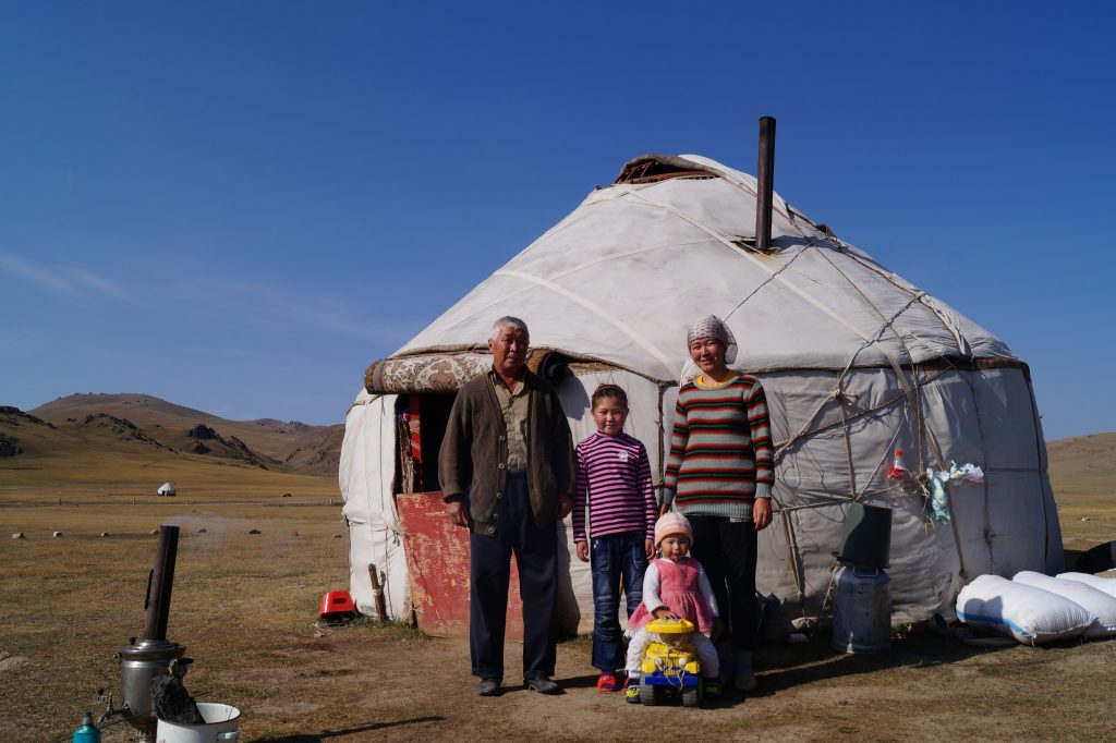 Jennifer Aniston can you imagine  how excessively huge your 20 million dollar home would seem to this family in Kyrgyzstan? (Photo by Kirsten Koza)