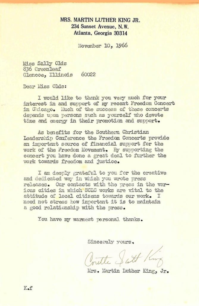 The letter Olds received from King's wife, Coretta Scott King. (Photo courtesy Sally Wendkos Olds)