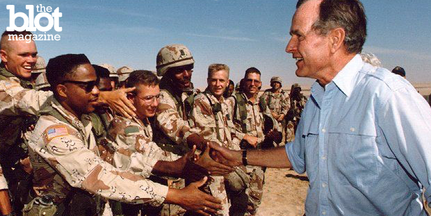 It's been 25 years since the Gulf War began on the preface of a lie, and many questions still remain that seemingly may never be answered. Above, then-President George H.W. Bush visits American troops in Saudi Arabia on Thanksgiving Day 1990. (Wikipedia photo)