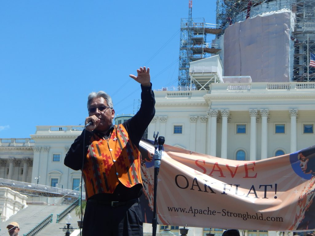 "San Carlos Apache Tribal Chairman, Terry Rambler, praised the ""Apache Stronghold"" for their successful spiritual journey from sacred and holy Apache land to the U.S. Capitol in an effort to keep protecting ancestral holy Apache land at Oak Flat in Arizona (Sandra Rambler Photo)"