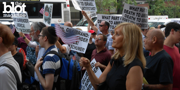 Politicians and activists gathered outside Sen. Kirsten Gillibrand's Manhattan office Tuesday protesting the Iran nuke deal they say is a threat to Israel. (Photo by Noah Zuss)
