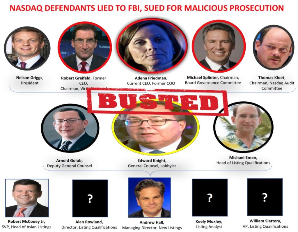 ADENA FRIEDMAN, NASDAQ CEO, Ed Knight, William Slattery, Michael Splinter, Thomas Kloet, Michael Emen, Arnold Golub, Andrew Hall, Alan Rowland, Robert Greifeld, fraud