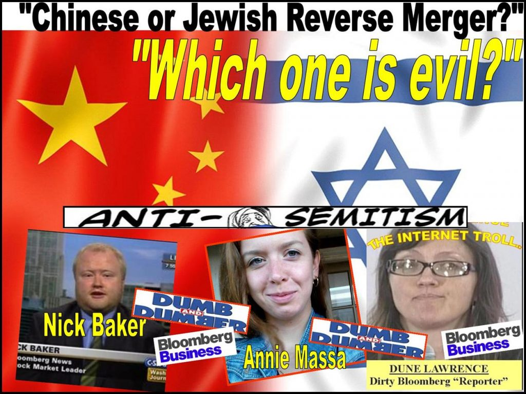 Annie Massa, Dune Lawrence, Nick Baker, Bloomberg BusinessWeek, reporter, Chinese reverse merger, China, Jewish, anti-semite, Chicago Stock Exchange, Michael R Huston, Gibson Dunn