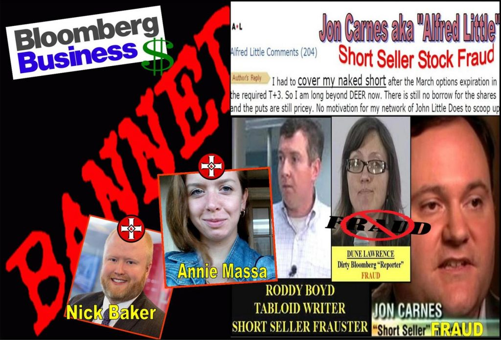 DUNE LAWRENCE, ANNIE MASSA, NICK BAKER, BLOOMBERG REPORTER, BLOOMBERG BUSINESSWEEK, Jon Carnes, Roddy Boyd, short seller, China Caixin, CHX, racist, fraud