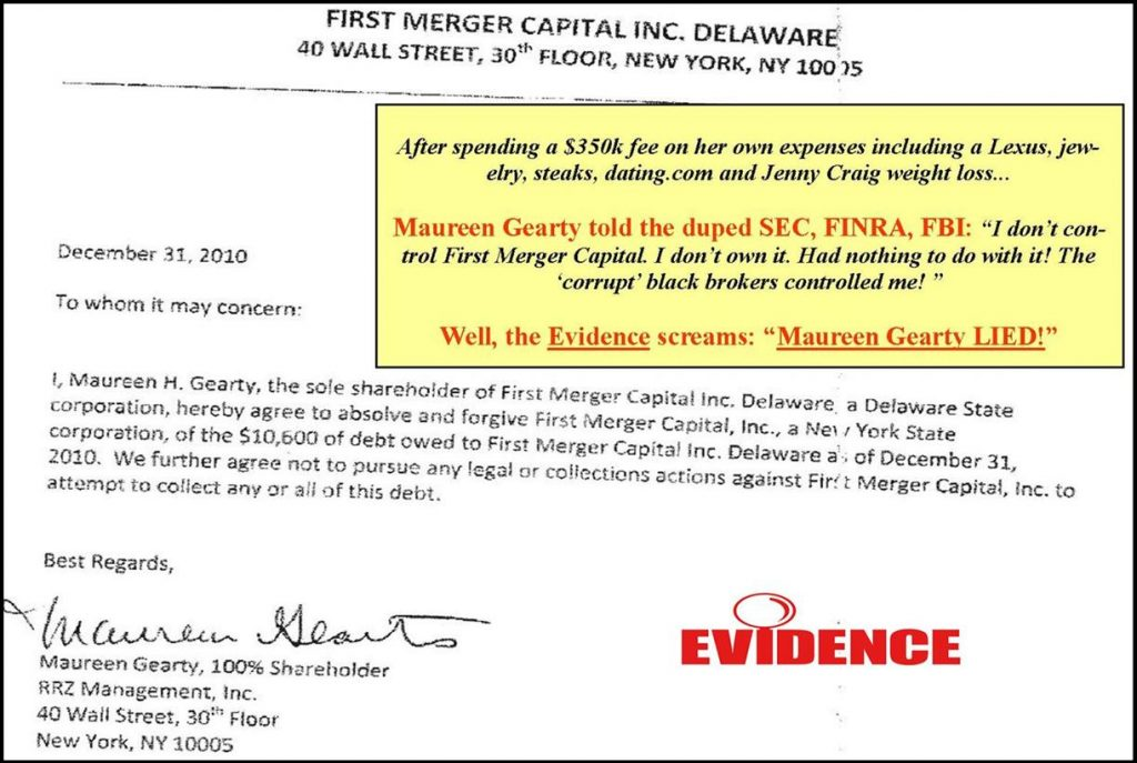 FINRA STAR WITNESS MAUREEN GEARTY LYING TESTIMONY, DEFRAUDED FINRA, SEC, FBI MATT KOMAR