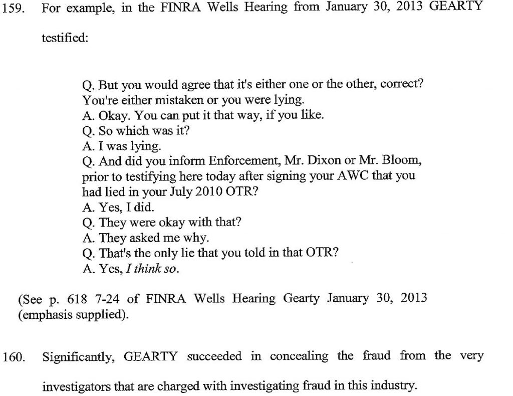 MAUREEN GEARTY, LYING WITNESS DUPED SEC, FINRA