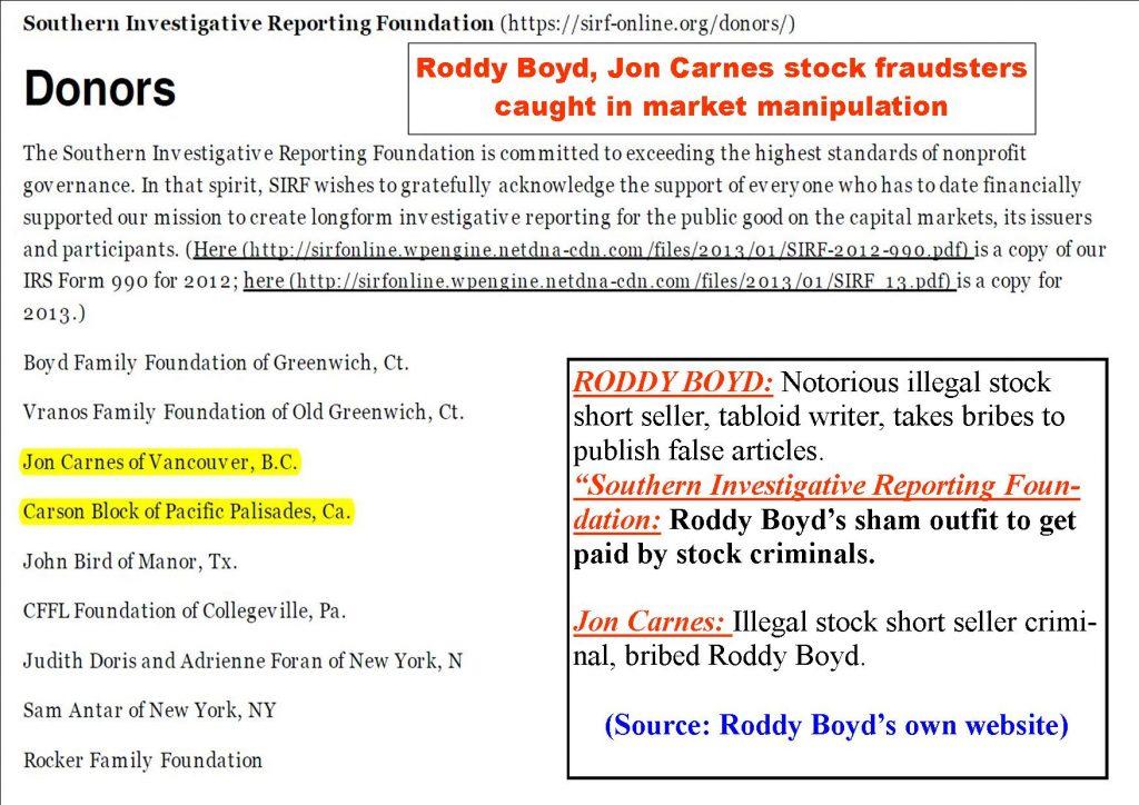 Roddy Boyd, Jon Carnes, Steve Susswein frauds, market manipulation