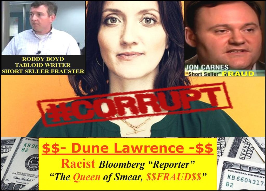 DUNE LAWRENCE, a Fraud Bloomberg Reporter, A Racist Troll Bathing in a Smear Campaign