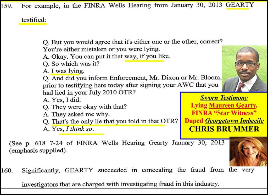 PROFESSOR CHRIS BRUMMER, UNQUALIFIED CFTC NOMINEE, MAUREEN GEARTY AFFAIR