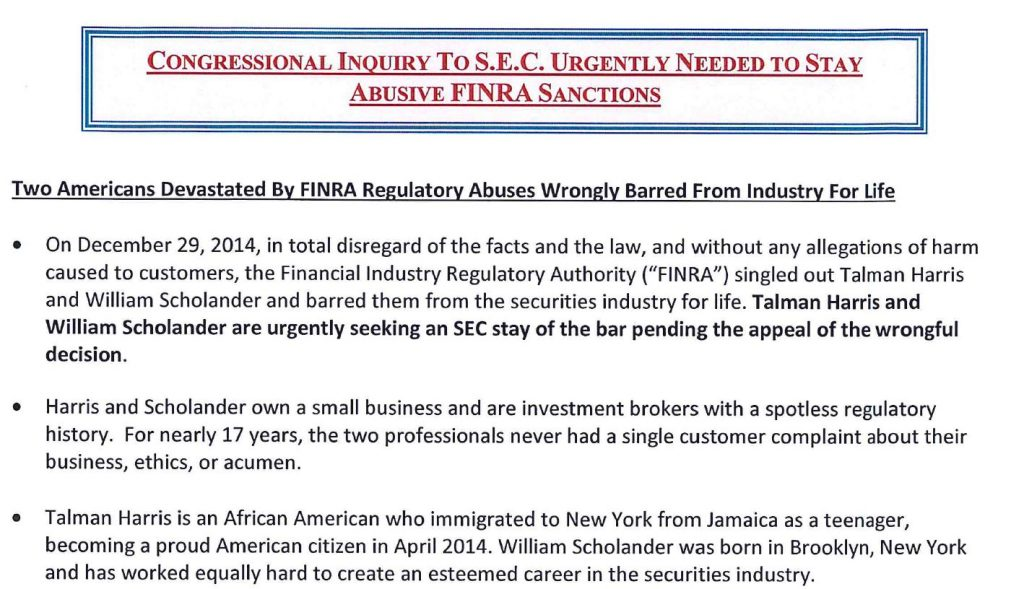 TALMAN HARRIS, WONGFULLY BARRED BY FINRA, SEC, CONGRESSIONAL INQUIRY AGAINST FINRA NAC, NICOLE GUERON, ROBERT COLBY