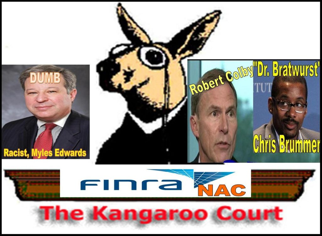 Robert Colby, FINRA General Counsel, Chris Brummer, Myles Edwards, FINRA NAC Kangaroo Court