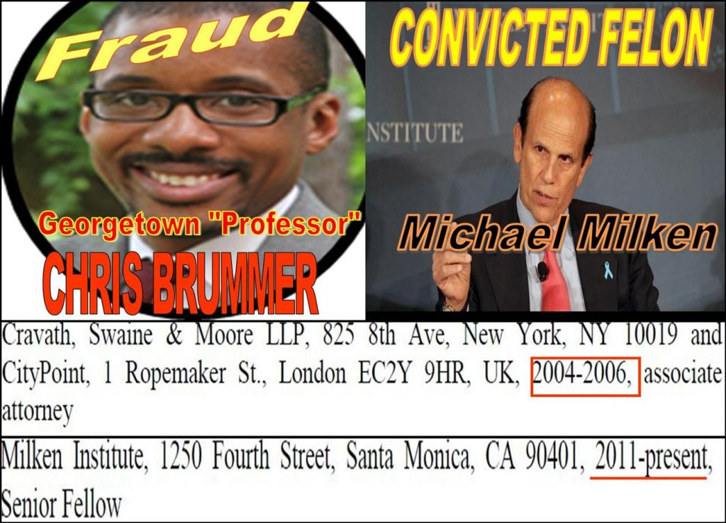 CHRIS BRUMMER, GEORGETOWN LAW PROFESSOR, Milken Institute fraud, Daniel Morgenstern, Daren Garcia, Whitney Gibson, Vorys, Nicole Gueron, David Massey, Tracy Timbers, Robert Colby, FINRA, Richards Kibbe Orbe