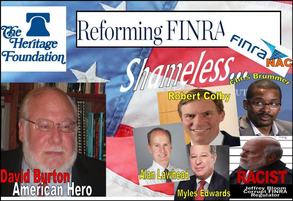 DAVID BURTON, HERITAGE FOUNDATION, FINRA REFORM, FINRA NAC, Robert Colby, Alan Lawhead, Chris Brummer, Myles Edwards, Jeffrey Bloom, David Massey, Tracy Timbers